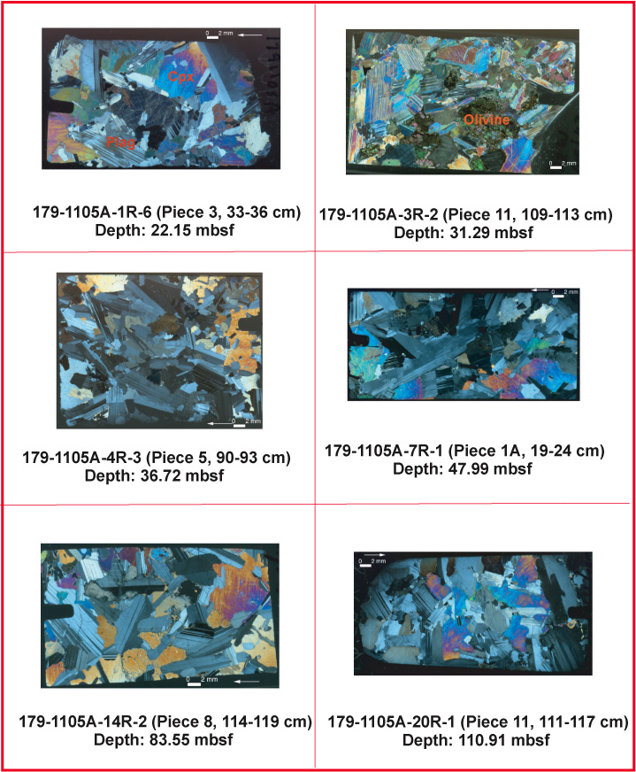 Figure F9. Thin section images from Hole 1105A of igneous cumulate ...