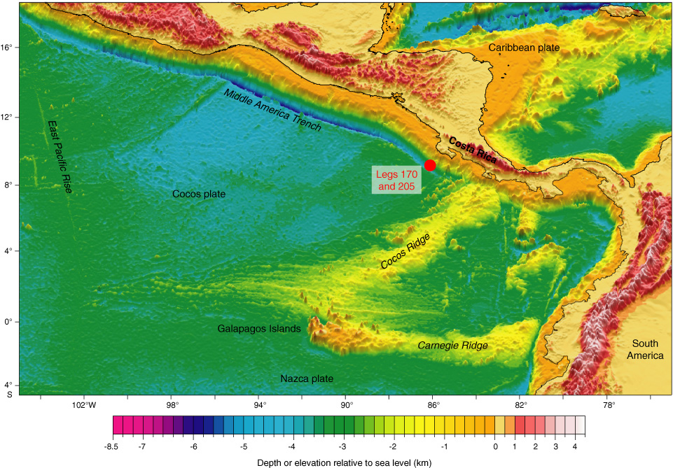 Figure F1 Bathymetric map of the eastern central Pacific showing